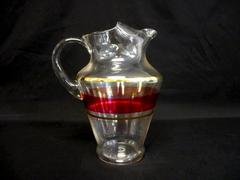 Vintage Glass Pitcher Clear Cranberry Band Gold Gild Bands