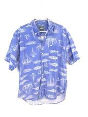 Vintage Woolrich Men's Button Up Shirt Blue Sail Boat Cotton Short Sleeve Size L