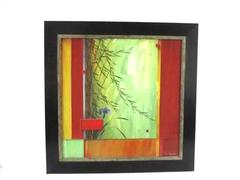Don Li Leger Framed Acrylic Painting Bamboo And Iris Bloom Rare