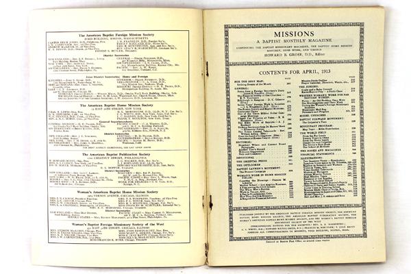 Missions Baptist Monthly Magazine Antique Book April 1913 Vol. 4 No. 4