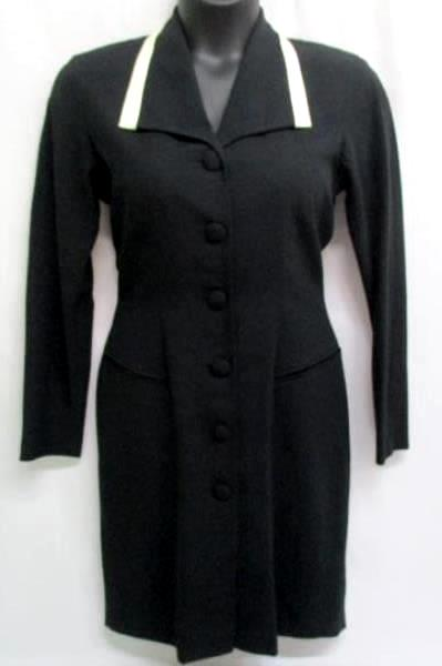 Vintage Kenar Dress by Ann Tjian Button Pencil Fitted Dress Black Size 8