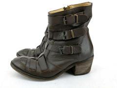 Farylrobin Lammi Boots Brown Leather Ankle Heel Point Toe Buckles Women Sz 7.5 M