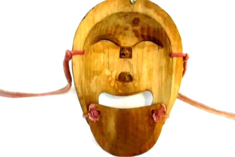 Vintage Korean Wood Mask Hand Carved Man Articulated Lower Jaw