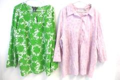 Lot of 2 Women's Size 3X Tops 22W/24W Shirts Sag Harbor George ME Green Purple