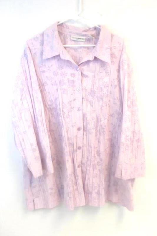 Lot of 2 Women's Size 3X Tops 22W/24W Shirts Sag Harbor George ME Green Purple