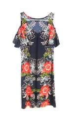 MSK Women's Cold Shoulder Dress Navy Coral Floral Ruffle Sleeve Sz S With Tag