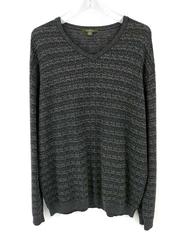 Ermenegildo Zegna Textured V Neck Sweater Gray Wool Blend Mens XL