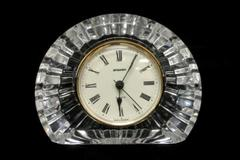 Staiger Lead Crystal Quartz Arch Clock Germany Movement Clear Gold Tone