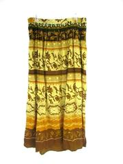 Women's Rayon Midi Skirt Elastic Waist Beige Brown Floral Size L Made in India