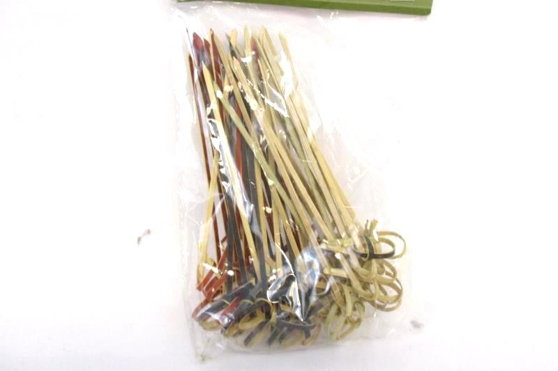R Ideas Looped Bamboo Picks 1 Pack of 50 Skewers Cocktail BBQ 4.5 Inch Sealed