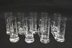 Lot Of 9 Tall Shot Glasses With Handles Etched Floral Design