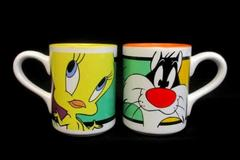 Set of 2 Looney Tunes Mugs Sylvester Cat Tweety Bird Gibson Housewares