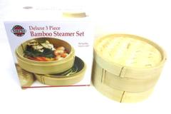 Norpro Deluxe 3 Piece Bamboo Steamer Set Model 1963 Cooking With Lid No Box