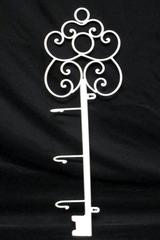 White Iron Skeleton Key Shaped Coat Rack Wall Mount