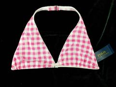 Polo Ralph Lauren Bikini Top Halter in Baja Pink Check Juniors Size 14 New
