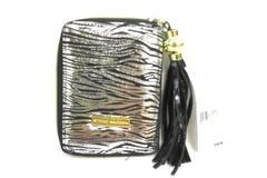 Steve Madden Black Leather PDA Case Card Wallet Tassel Silver Black Zebra