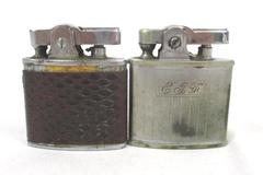 Lot of 2 Vintage Butane Lighters Ronson Continental Silver Tone Flip Tops