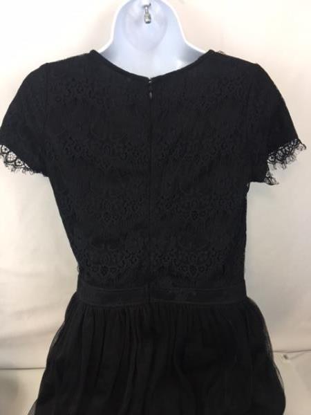 Pim + Larkin Women's Cocktail Little Black Dress Lace Tulle Cap Sleeve LBD Med