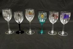 Lot of 6 Collectible Stemmed Wine Glasses Oregon Vineyards