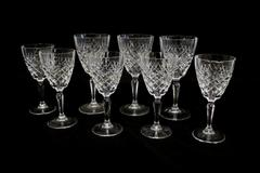 7 Stemmed Crystal Glasses With Cut Diamond Pattern Water And Wine