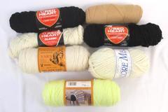 Lot of Knitting Crochet Yarn Plymouth Red Heart Pioneer Primrose Eggshell Black