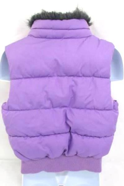 Crazy 8 Girls Puffer Vest Faux Fur Collar Purple Zip Up Size XS (4)
