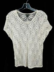 Eddie Bauer Beachside T-Shirt Sweater Ivory Linen Blend Crochet Womens XS