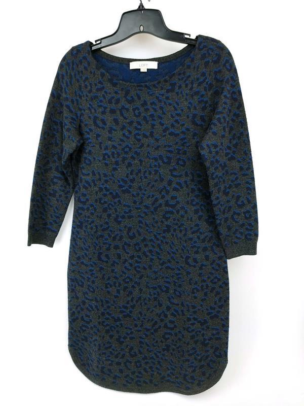 Ann Taylor Loft Gray Leopard Print Sweater Dress Wool Blend Round Hem Sz Small