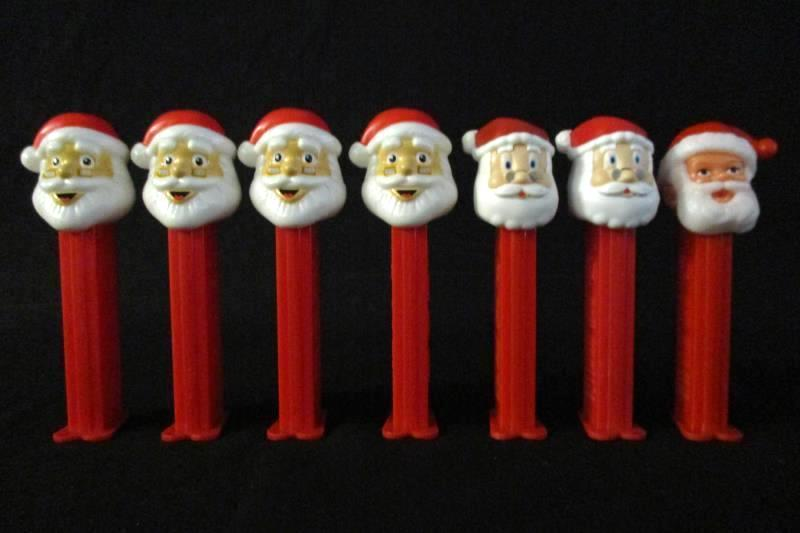 Lot Of 7 Santa Claus Pez Dispensers With Feet Slovenia China Hungary