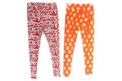 Lot of 2 LuLaRoe OS One Size Leggings Buttery Soft Red Sailor Orange Geometric