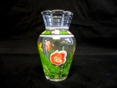 Hand Painted Glass Vase Ruffled Rim Floral Decor 6 Inches Tall Butterfly