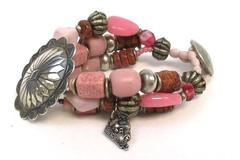 Lizard With Polka Dot Toes Southwestern Glass Bead And Sterling Silver Bracelet