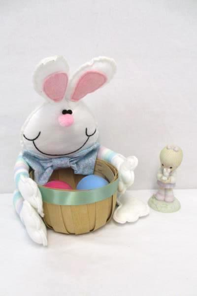 Easter Spring Themed Items Bunny Basket 2 Plastic Eggs Precious Moments Figurine