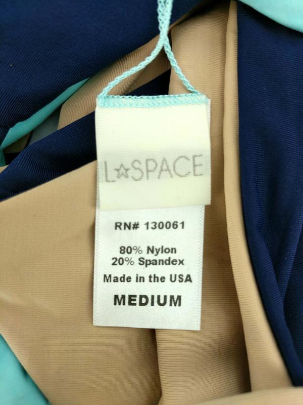 L*Space Monica Wise 2pc Bikini Reversible Strappy Racerback Blue & Beige Size M