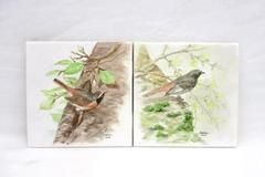 Set of 2 Hand Painted Birds on White Ceramic Tile Decorative Signed Pauline 2006