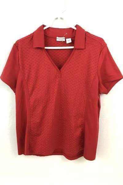 COOLFX IZODXFG Women's Ladies Red Casual Shirt V-Neck Tie Size XL