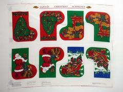David Textiles English Collection Santa's X-mas Surprises Stockings Fabric Panel