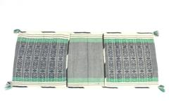 Woven Table Runner or Fold Over Back Of Chair Pockets Beige Green Navy Design