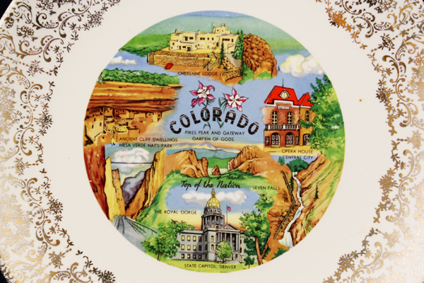 "9.75"" White Plate w/ Vibrant Colorful Colorado Scenes & Gold Decorative Border"