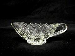 Vintage Diamond Cut Glass Gravy Sauce Boat With Saw Tooth Rim