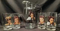 Rare Elvis Presley Glass Pitcher with Set of 4 Glass Portrait Mugs
