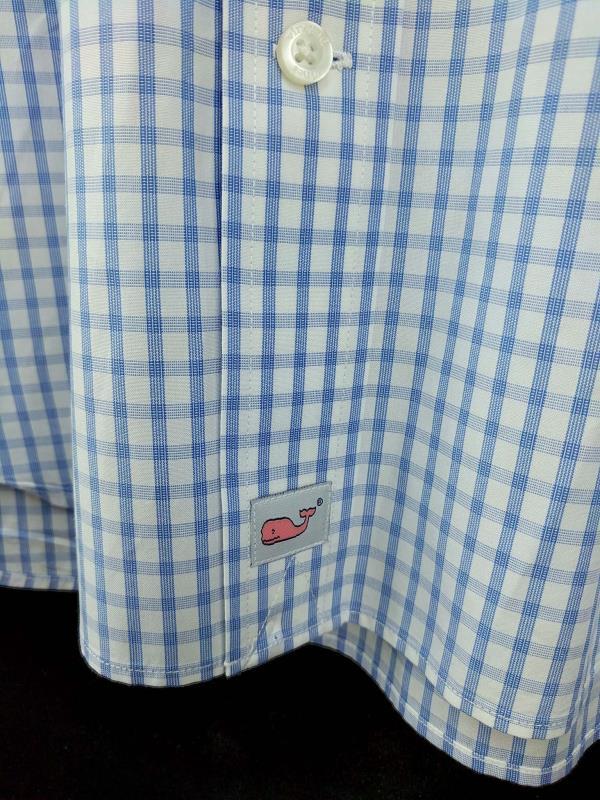 Vineyard Vines Classic Fit Murray Shirt 100% Cotton Blue White Window Plaid L