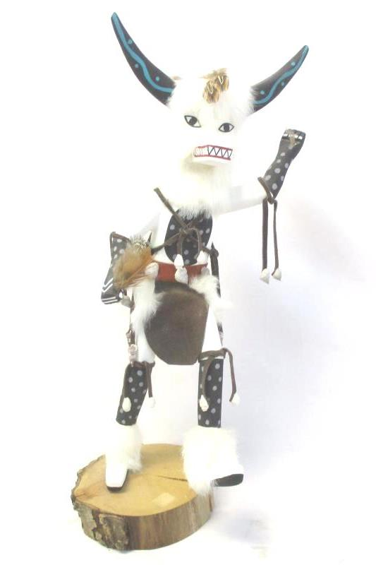 White Ogre Handmade Kachina Doll 20 Inch Tall Wooden Figurine Decor Collectible
