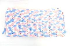 "Hand Knit Baby Crib Blanket Throw Lap Blanket Pink Blue White  54"" x 51"""