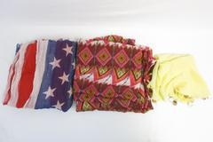 Lot of 3 Women's Scarves Spun Scarves Subtle Luxury American Flag Infinity