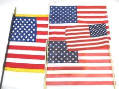 Lot of 4 United States Hand Flags Wood Stick Handles Multi Fabric Vinyl Fringe