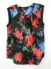 J Crew 100% Silk Keyhole Shell Tank in Floral Splash Women's Size 0