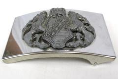 Vintage Family Crest Belt Buckle Clan Griffins Crown Shield Pewter Metal