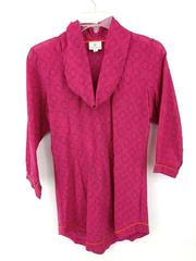 Anokhi Cowl Neck Top Long Sleeve Pink Semi Sheer Blouse Size Small