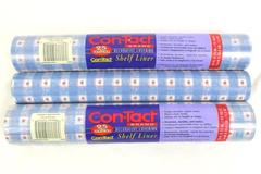 2.5 Rolls Con-tact Shelf Liner Self Adhesive 25 Foot Blue Gingham Hearts 5292